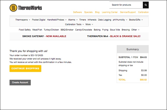 ThermoWorks Order Success Page