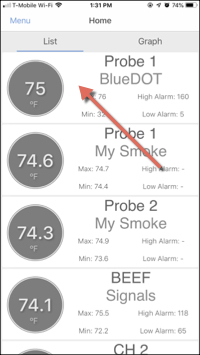 Home Screen Select BlueDOT Probe