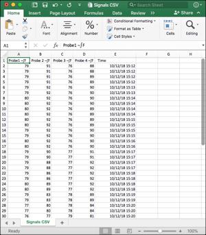 Signals multi-probe graph in Excel